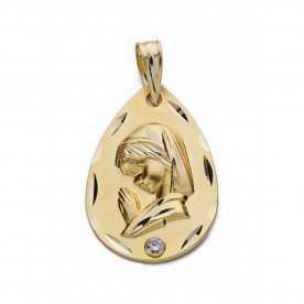 Medalla Oro 9k Lagrima Virgen Niña Circonita