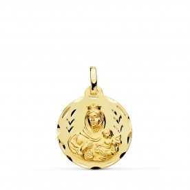 Medalla Escapulario Oro 9k Virgen Del Carmen Corazón de Jesús