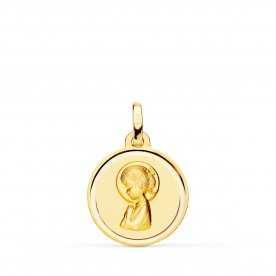 Medalla Oro Amarillo Redonda Infantil Virgen Niña