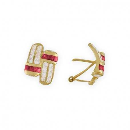 Pendientes con Piedra Circonita Rubí y Blanca en Oro Amarillo de 18kts. y cierre Omega