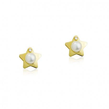 Pendientes Estrella con Brillante 9K