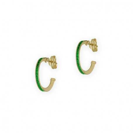 Pendientes de Medio Aro con Carril de Piedra Circonita Esmeralda y cierre de Presión en Oro Amarillo de 9kts.