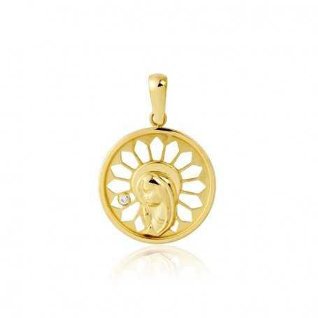 Medalla Virgen Niña Circonita 18K