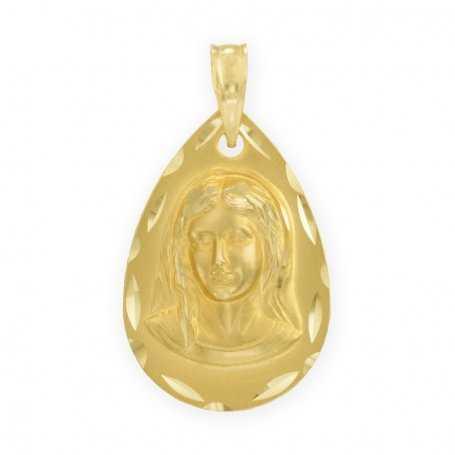 Medalla de la Virgen Niña en Oro Amarillo de 18 kts.