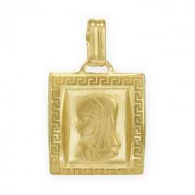 Medalla Cuadrada Greca Virgen Niña Oro