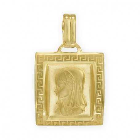 Medalla en forma Cuadrada con borde en Greca de la Virgen Niña en Oro Amarillo de 18 kts.