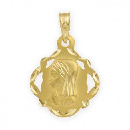 Medalla de la Virgen Niña sobre Silueta Labrada en Oro Amarillo de 18 kts.