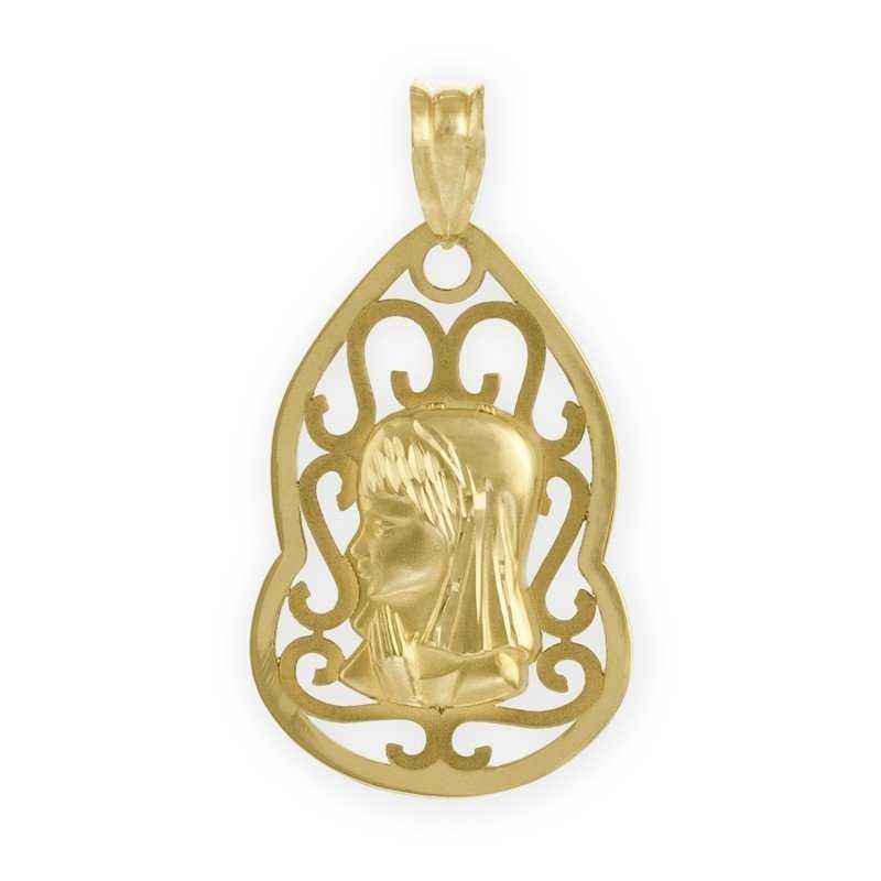 Medalla de la Virgen Niña sobre Silueta 9K