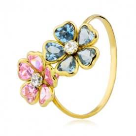 Sortija flores aguamarina y rosa de francia 18K