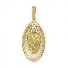 Medalla de la Virgen Niña Ovalada en Brillo y Mate 9K
