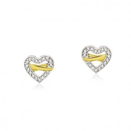 Pendientes Corazón Circonitas Bicolor 18K