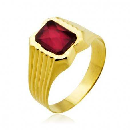 Sello Cadete Oro Rectangular Piedra Color Rubí