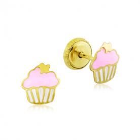 Pendientes Infantil Oro Cupcake