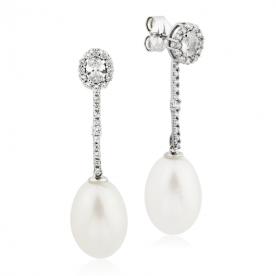 Pendientes Mujer Oro Blanco Perla Argint