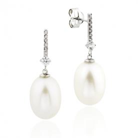 Pendientes Mujer Oro Blanco Circonitas Perla