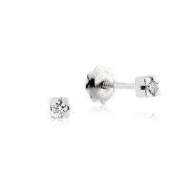 Pendientes Garra Oro Blanco Diamante 0.06 QTS
