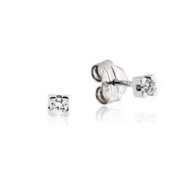Pendientes Garra Oro Blanco Diamante 0.10 QTS