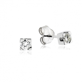 Pendientes Garra Oro Blanco Diamante 0.30 QTS