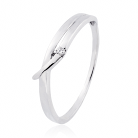 Solitario Diamante Oro Blanco 18K 0.02 Qts