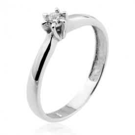Solitario de Diamante y Oro Blanco 18K 0.10 Qts