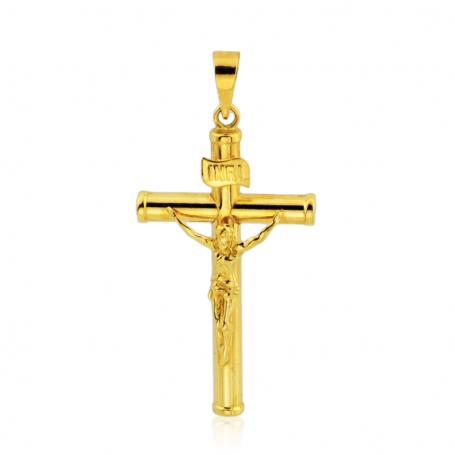 Cruz Cristo en oro de 18K