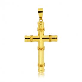 Colgante Cruz Tubular Oro