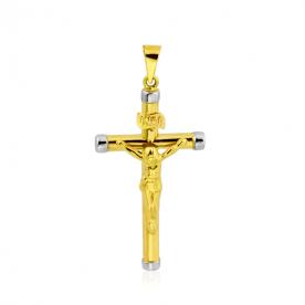 Cruz bicolor en oro de 18K