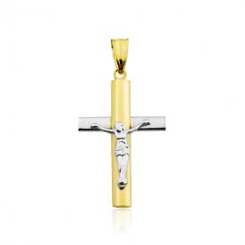 Cruz Cristo Bicolor Oro 18K