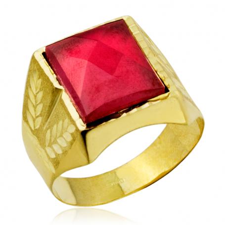 Sello Hombre Oro Rectangular Piedra Color Rubí