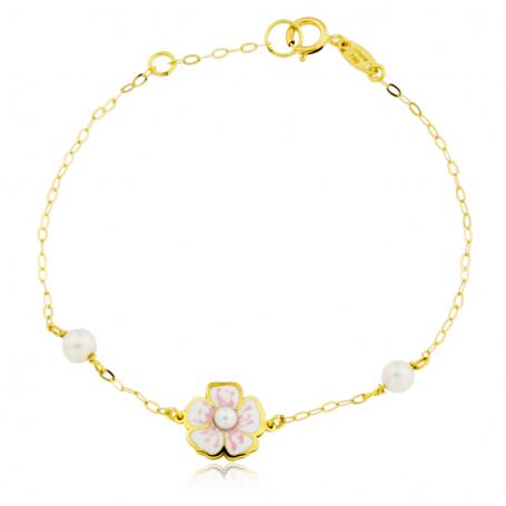 Pulsera infantil con flores esmaltadas y perla en oro de 18k