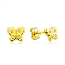 Pendientes infantiles mariposa con circonitas en oro de 18k