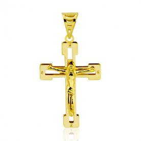 Cruz Cristo Calada de Oro 18k