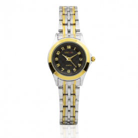 Reloj Mujer Bicolor Pequeño Negro Textura Aresso