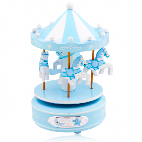 Tiovivo Musical Infantil Caballos Azul Plata