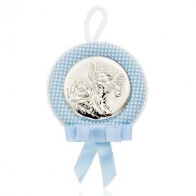Medallón de Cuna Ángel Azul Plata