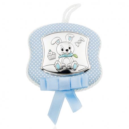 Medallón de Cuna Conejo Azul Plata