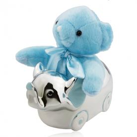 Caja de Música Infantil Oso Azul Plata