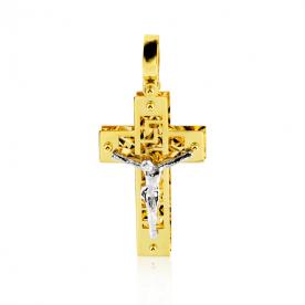 Colgante Cruz Calada Cristo Oro 18K
