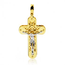 Colgante Cruz Redondeada Cristo Oro 18K