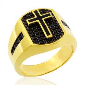 Sello Cruz Azabache Oro 18K