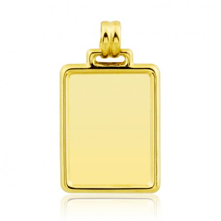 Chapa Rectangular Lisa Borde Redondeado Oro Gold