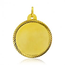 Colgante Chapa Redondo Bisel Oro 18k