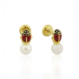 Pendientes Mariquita y Perla Oro 18K
