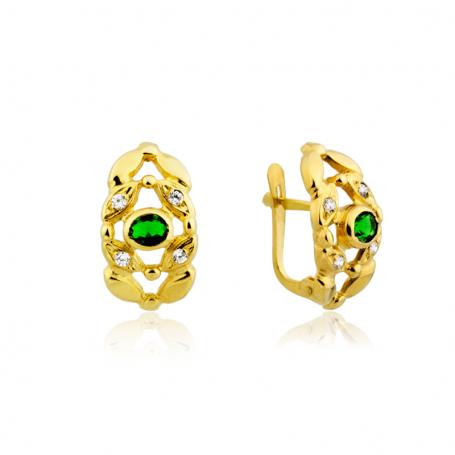 Pendientes Mujer Oro Piedra Color Esmeralda Circonitas Optimiste