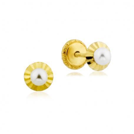Pendientes Perla Bisel Estriado Oro 18K