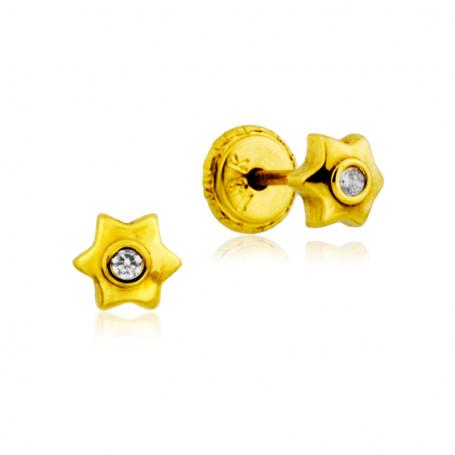 Pendientes Estrella Circonita Oro 18K