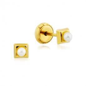 Pendientes Cuadrados Perla Oro 9K