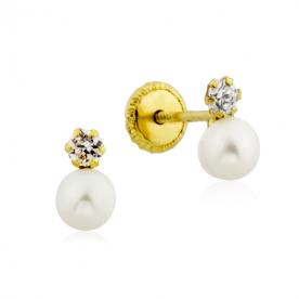 Pendientes Circonita y Perla Oro 18K