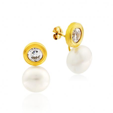 Pendientes Mujer Oro Chatón Perla Circonita Lovely Small