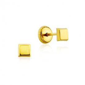 Pendientes Cuadrados Lisos Oro 18K